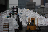 A huge pile of used styrofoam boxes (they get recycled)