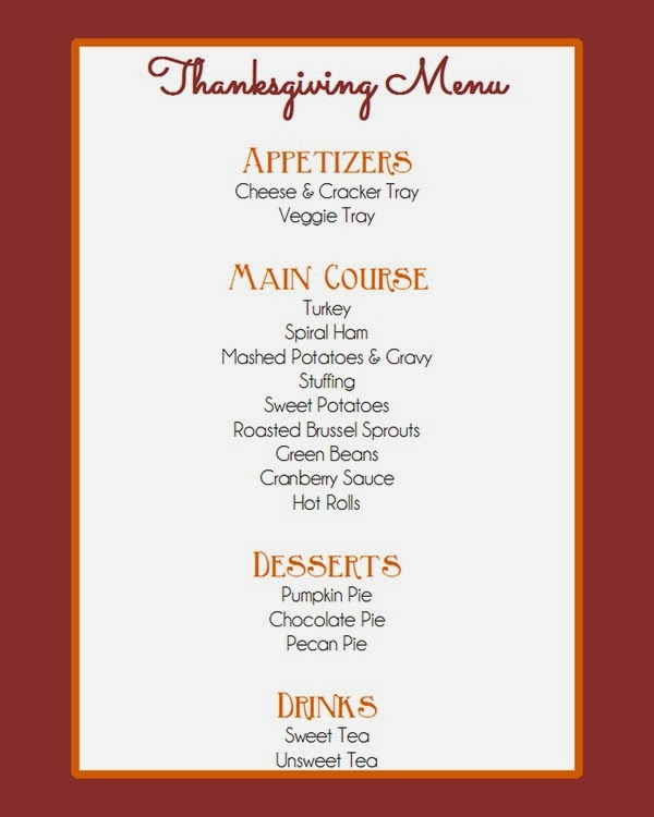 Thanksgiving 2014 Menu
