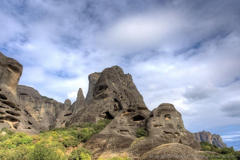 rock formations meteora greece blue sky 1
