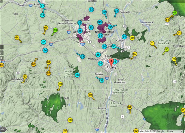 The wunderground.com map of temperature observations in the Albany, New York area at about 2:30 p.m. on 22 December 2013. Cold air was trapped in the valleys of New York as warm air just aloft caused temperatures to vary by as much as 35° over an elevation of just 500-1000 feet. Graphic: Weather Underground