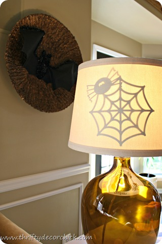 Halloween paper cut outs on lamp shade