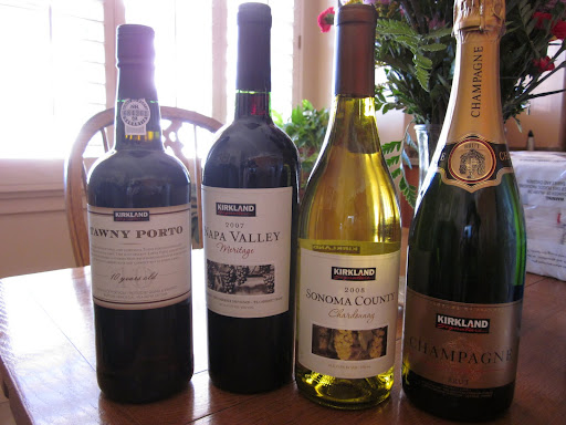My seven dinner companions and I sampled these four Kirkland Brand wines: Champagne, Chardonnay, Meritage, and Tawny Port.