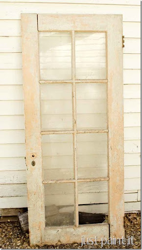 This old french door has been sitting in our garage for as long as I can remember. Now that escrow has closed and we gotta be outta here in three weeks ... & 19 Vintage Door Upcycling Ideas - Just Paint It Blog