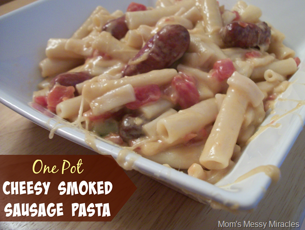 Easy One Pot Cheesy Smoked Sausage Pasta