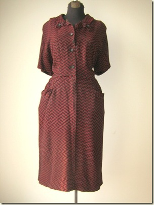 vintage 1940s Red and Blue Shirt Dress