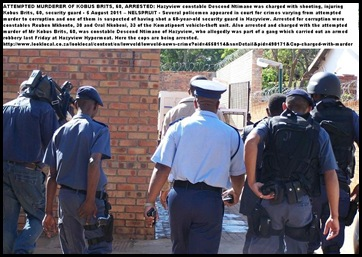 COPS ARRESTED KOMATIEPOORT AUG 3 2011 CHARGED WITH CORRUPTION