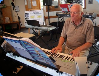 Rob Powell playing his Tyros 3 keyboard. Photo courtesy of Dennis Lyons