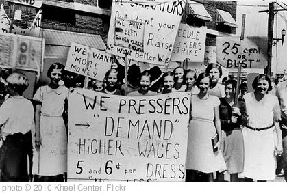 'Women pressers on strike for higher wages' photo (c) 2010, Kheel Center - license: http://creativecommons.org/licenses/by/2.0/