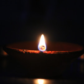 Earthen lamp by Meenakshi Yadav - Artistic Objects Other Objects ( lamp, light, darkness, objects, flame )