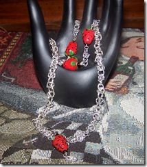 Strawberry Chain Maille Necklace and Bracelet Set