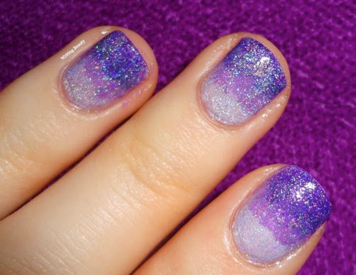 Purple Holographic Ombre Nail Look 2