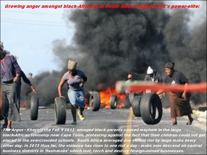 BLACK AFRICAN PARENTS RIOT IN KHAYELITSHA TO PROTEST AGAINST OVERCROWDED SCHOOLS FEB42013 CAPE ARGUS PIC