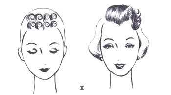 Barrel pin curls on the crown create volume - Pin Curls 101 | Lavender & Twill