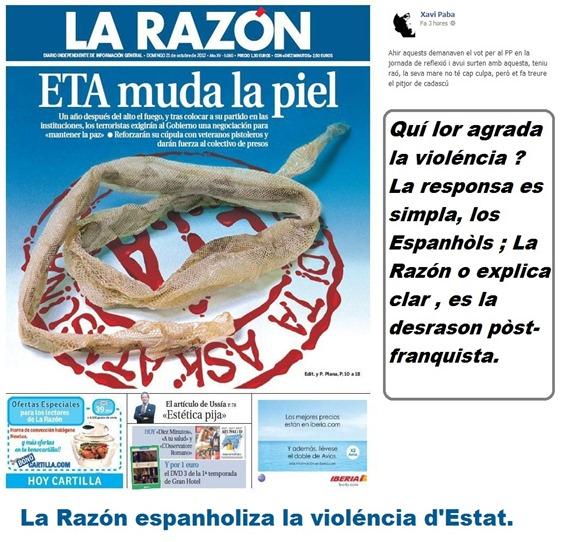 La Razón espanholiza la violéncia