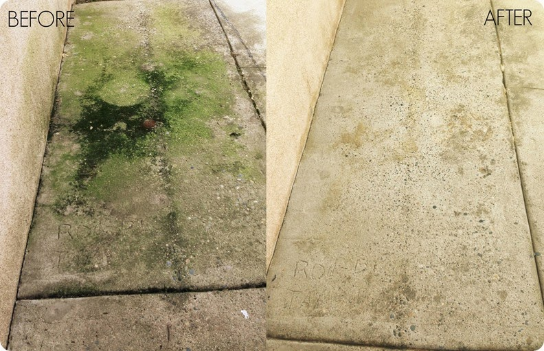 Concrete before and after using 30 Seconds Cleaner