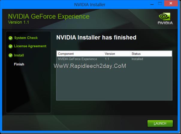 NVIDIA GeForce Experience 2013 Setup