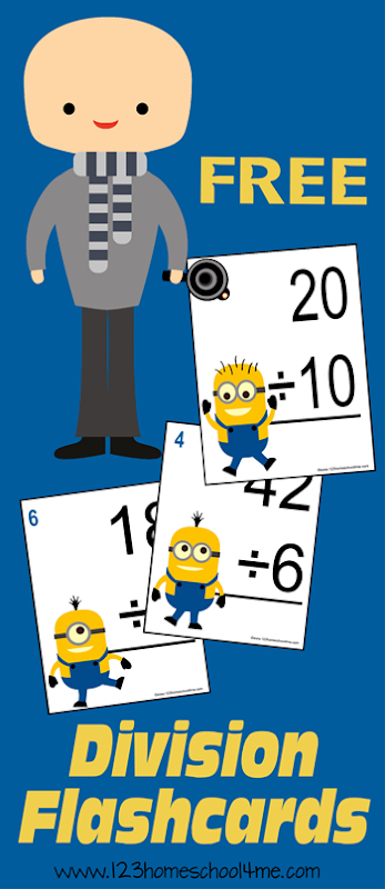 FREE Minion themed Division Flashcards! What a FUN way for kids to gain math fluency; great for independent practice, drilling, or games.