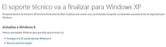 microsoft termina soporte tecnico para windows xp