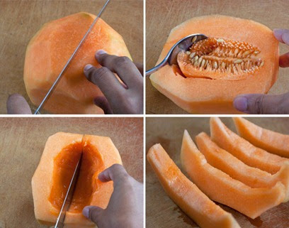 Slicing in half, seeding, and cutting the melon in wedges