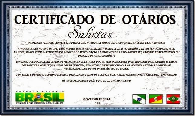 certificado de otários