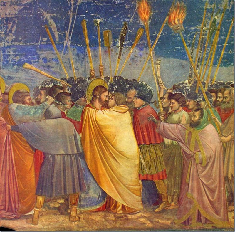 The Kiss of Judas. Giotto di Bondone Fresco, Scrovegni Chapel, Padua, Italy