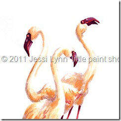 Jessi Lyn little paint shop Nature Three Pink Flamingos - Nature Bird Feathers Birds Feather