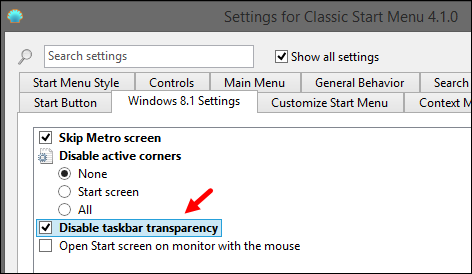 Disable Taskbar Transparent