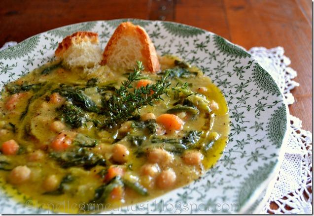 zuppa di ceci e spinaci con olioevo timo