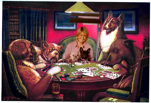 Martha and her little poker wizards prepare to raise the ante by 5 home baked biscuits!