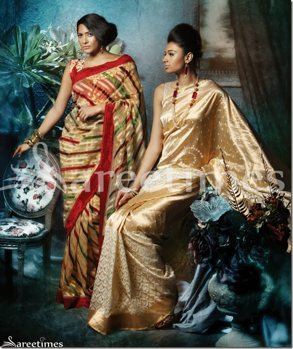 LD-5 (Left): Velvet and resham lines are woven diagonally on an ivory cream base, to give a unique look to this masterpiece. A sleek and silky maroon border is stitched at the edges to give a classy outline to the saree. An ivory net blouse with pin stripes adds a dash of richness and sophistication to the product. | LD-6 (Right): Feminism and sophistication is defined by this elegant half-and-half beige saree. Net and tissue fabrics are intertwined together with golden zari fillings that exude sheen and class at the same time. This half-and-half saree is teamed with a gold zari net blouse that is equally ravishing.