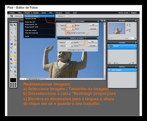 Recorte de fotos (controlado) no Pixlr