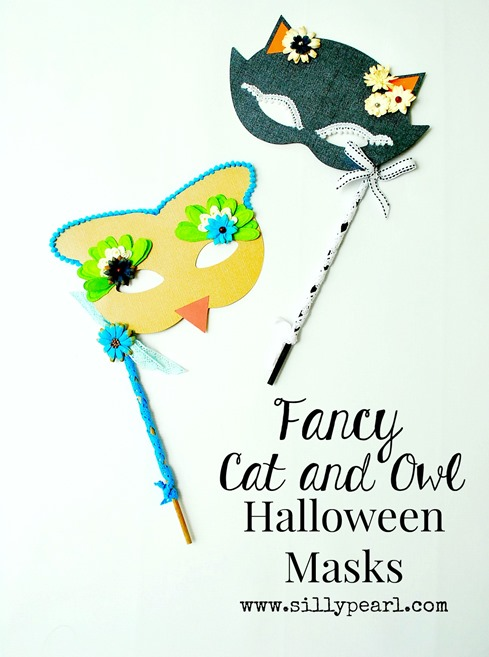 Fancy Cat and Owl Halloween Masks - The Silly Pearl
