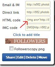 Photobucket HTML code