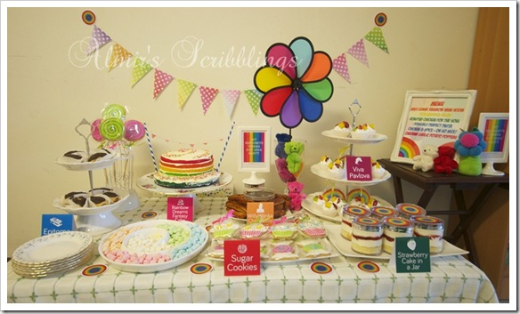 rainbow dessert buffet set up