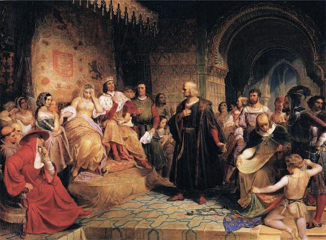 Emanuel Leutze - Colón ante la reina..jpg