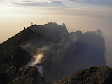 Hikers on Merapi crater rim at dawn (Daniel Quinn, October 2011)