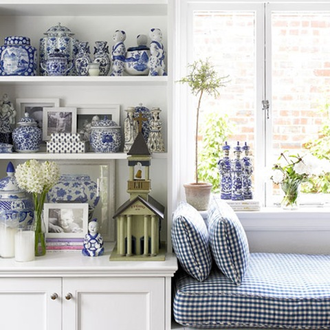 blue and white check window seat and blue and white porcelain