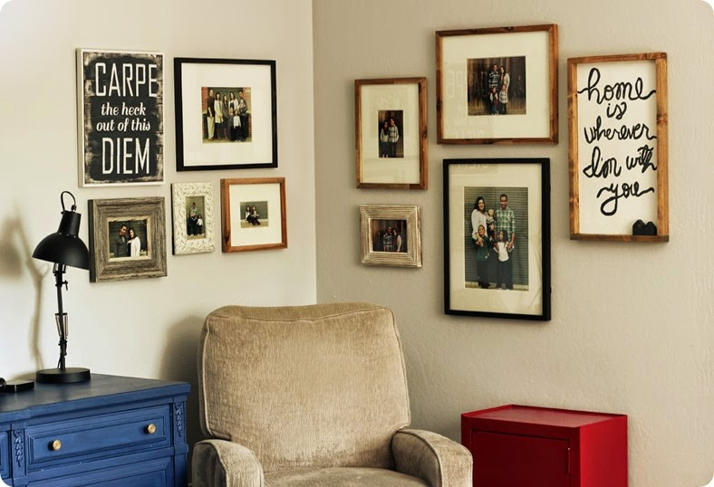 family photo gallery wall with large and small prints found at alwaysinwonder.com