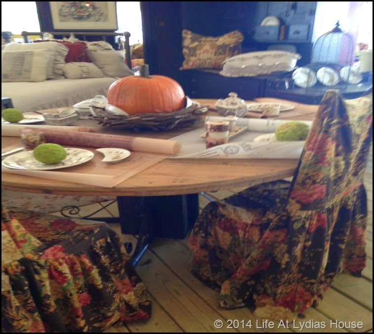 Round top table with blue prints and osage oranges via Life At Lydias House