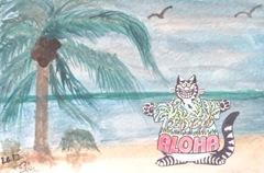 Kliban cat aloha beach cat wc