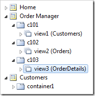 Views for Customers, Orders, and Order Details controllers have been added to the Order Manager page.