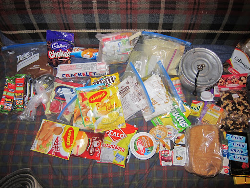 The food we packed for 5 days - mainly soup, porridge, and instant mashed potatoes.