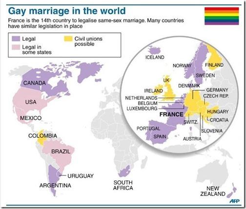 Mariage pour tous dans le monde (au 24Avril2013)