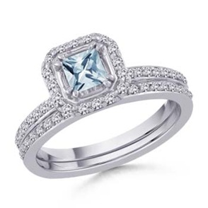 Square Aquamarine and Round Diamond Ring