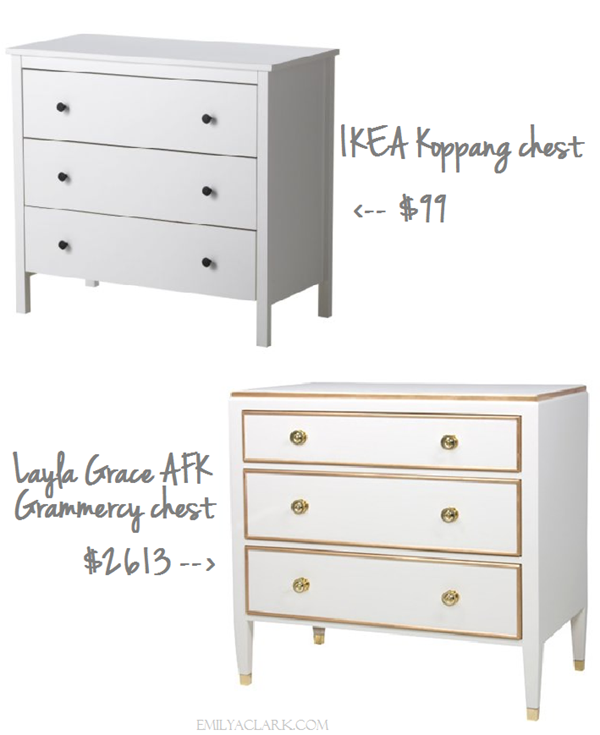 How to make a $100 IKEA Koppang nighstand look like a $2600 Layla Grace Grammercy chest