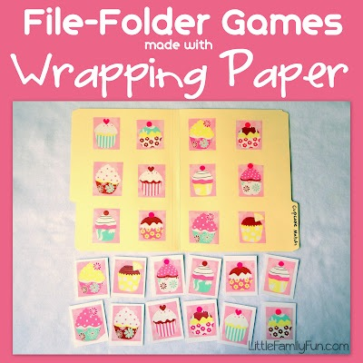 File Folder Games with Wrapping Paper DIY