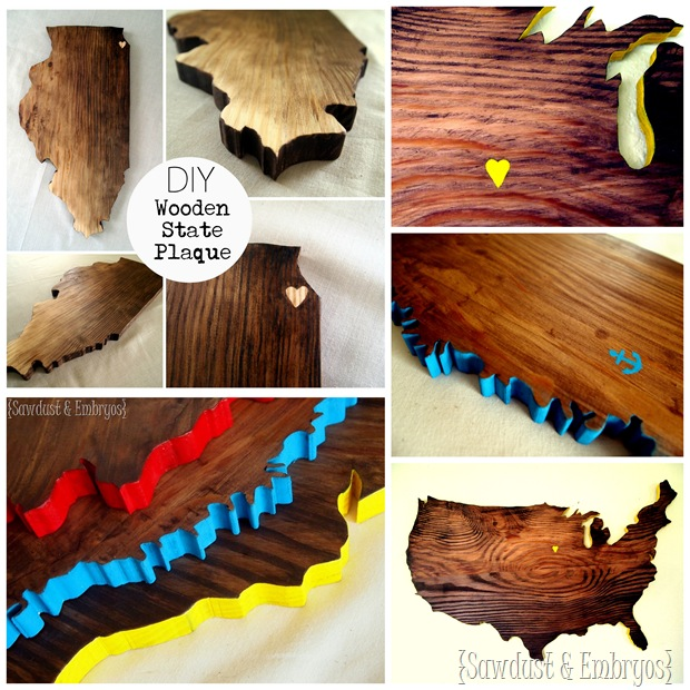 DIY Wooden State (or Country) Plaque by Sawdust and Embryos