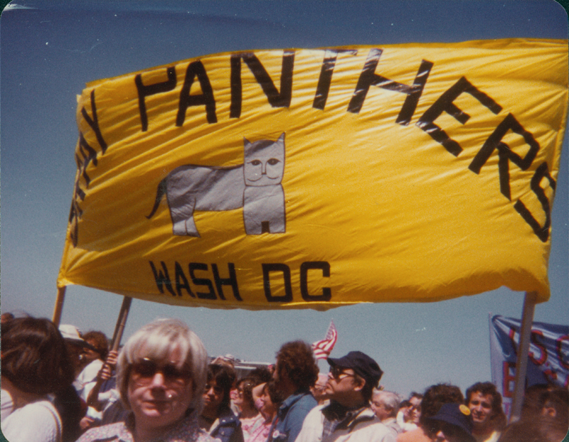 Edgar Sandifer helped carry the Gray Panthers banner on a march on the Pentagon. Undated.