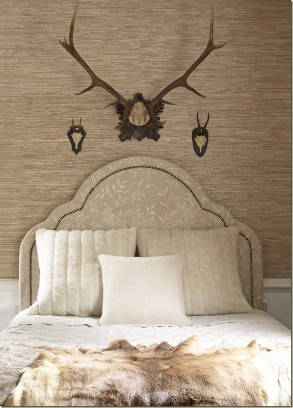 Charleston Headboard - Shalimar White on Cream - 7747–H61 - Thibaut Fine Furniture