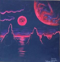 Peisaj de pe exoplaneta Gliese 581d - Pitica rosie Gliese 581  vazuta de pe Gliese 581dpictura tempera pe hartie neagra